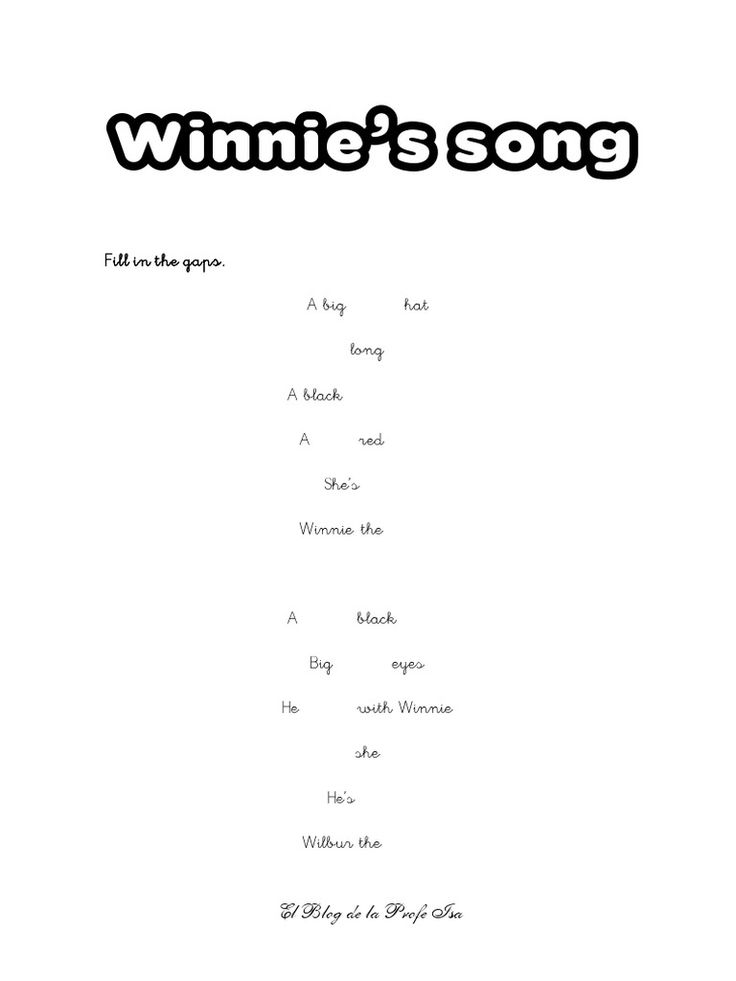 Winnie the witch, Winnie's Song activity