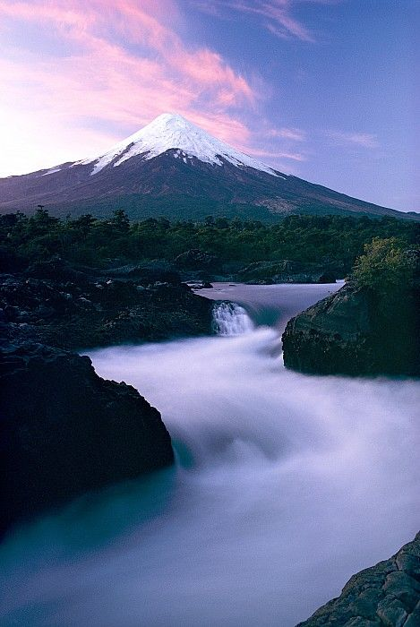 The Winding Rio Petrohue Beneath Osorno Volcano At Night | Los Lagos Region Of Chile | Photo By George F. Mobley