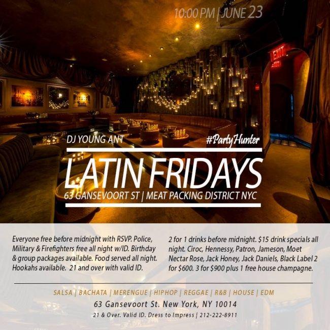 Free Guest list RSVP, Everyone Free Before Midnight With Rsvp..  Latin Fridays Salsa, Bachata, Merengue, Top40 Music Mixes at 63 Gansevoort Fri Jun 23, 2017   New York, NY