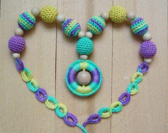 Infermieristica collana in legno dentizione collana crochet per mamma Babywearing Breastfeeding fionda di anello collana cura del canguro giocattolo bambino bambino maglia