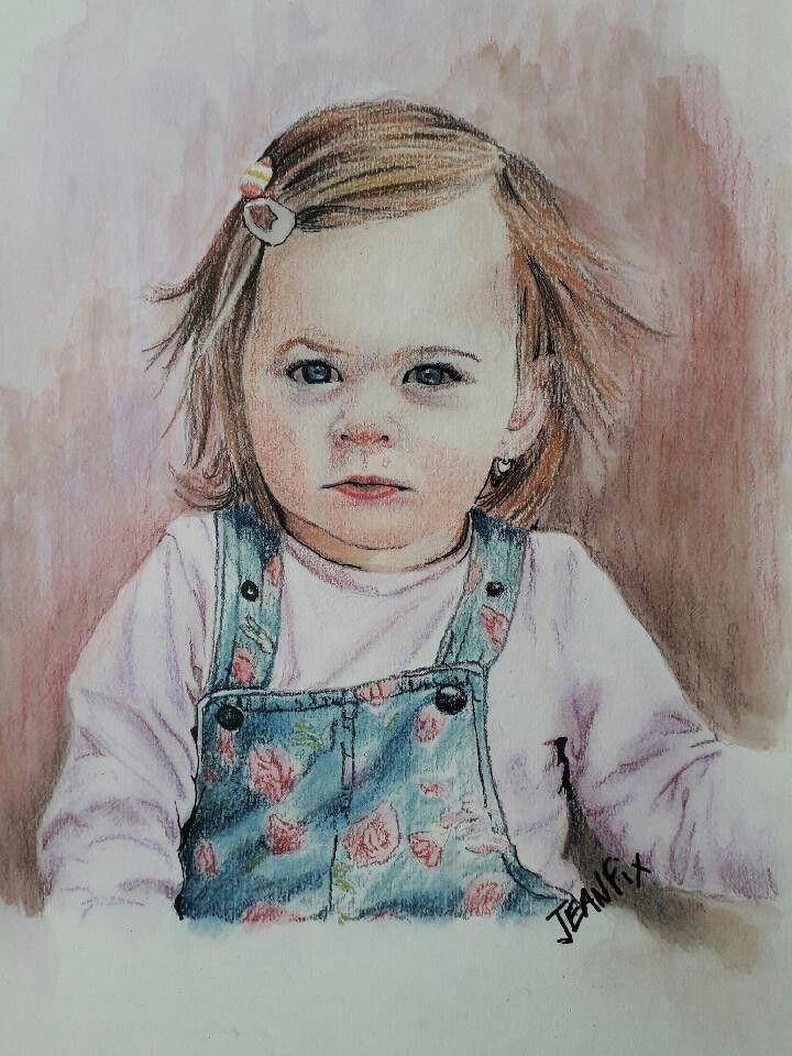 Aquarelle Pastel Portrait D Une Petite Fille Art Portrait Dessin