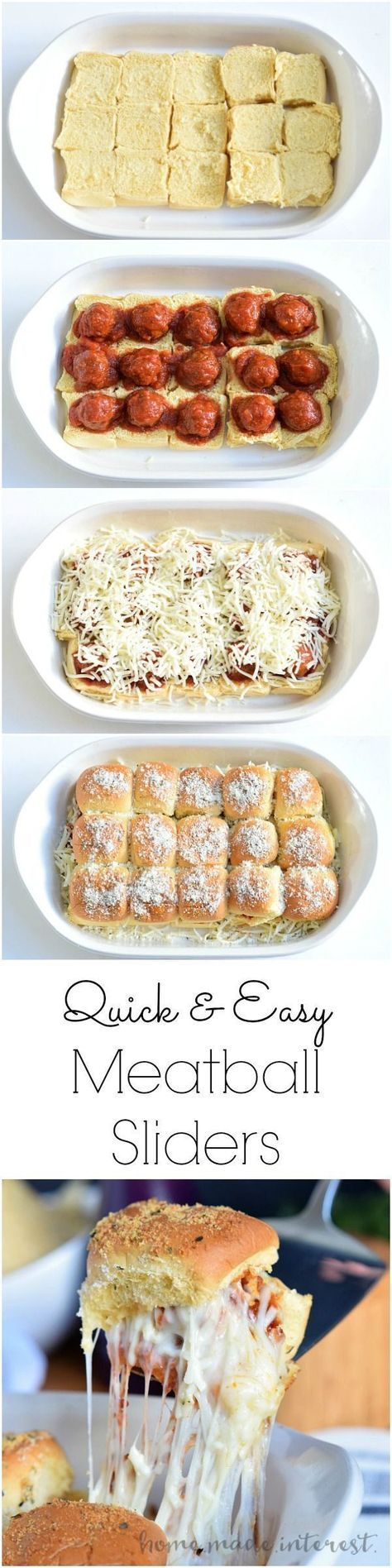 Meatball Sliders | These cheesy Meatball Sliders are an easy appetizer recipe for game day. Make them for your Super Bowl Party or any party where you have to feed a crowd. Everyone will love this easy slider recipe!