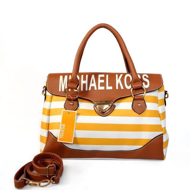 Michael Kors Outlet Striped Medium Yellow Satchels -Michael Kors factory outlet online sale now up to 80% off!