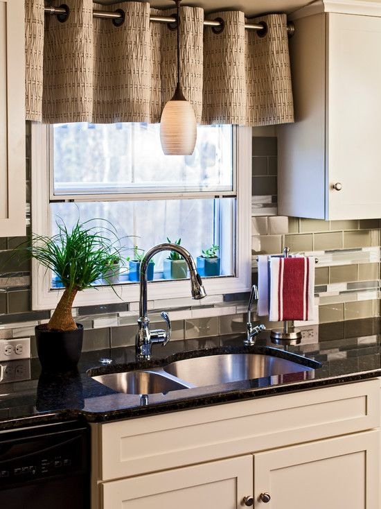 Appealing Short Kitchen Curtains Decorating: Captivating Brown Short Kitchen  Curtains Over The Black Washbasin With