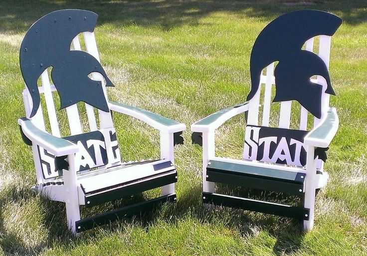 MSU / Michigan State University Spartans  Adirondack chairs created by Roger of facebook.com/yousawithere3