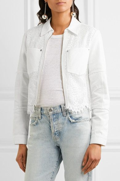 McQ Alexander McQueen - Denim And Lace Jacket - Ivory - IT44
