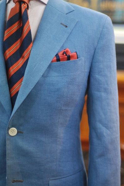 Suit with orange: Orange Fashion, Consistency Patterns, Vari Patterns, Color, Orange Pockets Squares, Men Blue Suits, Men Suits, Orange Blue Suits, Linens Suits