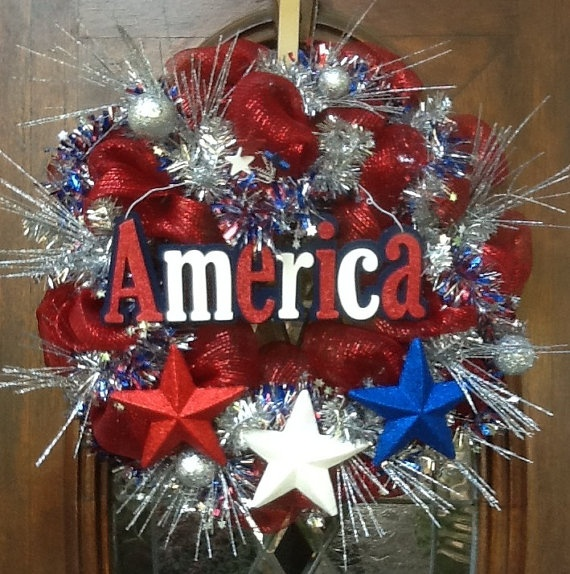 Patriotic Wreath that boldly proclaims AMERICA by HertasWreaths, $79.00
