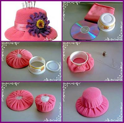 Hat pincushion - Looks like it uses old CD and part of a yogurt type container.