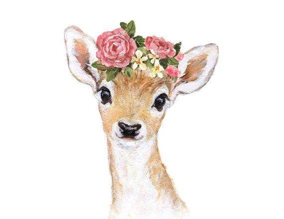 Deer Flower Crown, Deer Flower Crown Portrait, Fawn Nursery, Giclee, Woodland Animal Portrait ,Fawn