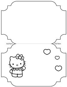 Printable hello kitty card template amigos pinterest for Hello kitty cut out template