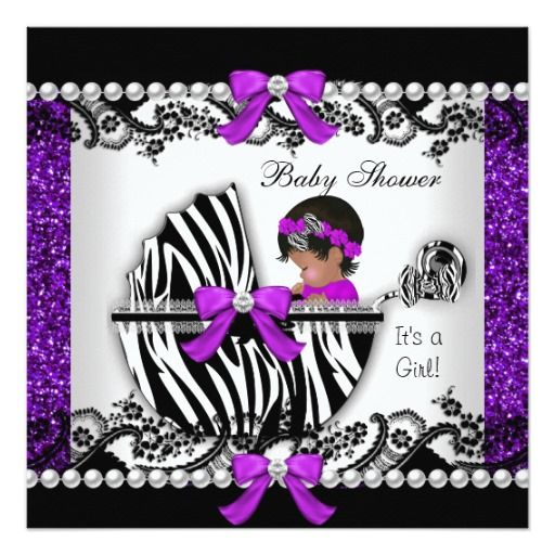 """Glitter African American Cute Baby Shower Baby Girl Purple Black Lace White Zebra Print Pram Pearl Lace  Pearl Lace Bow Ribbon invitation, new baby, girl  CLICK """"read more"""" for Matching products!"""