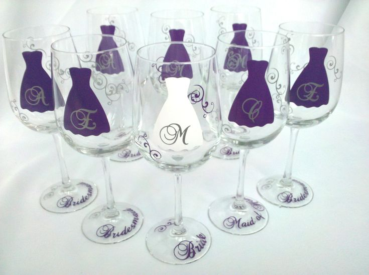 Set Of 6 Bridesmaid Wine Glasses Personalized Wedding Glass With Monogram Party Gift Ideas