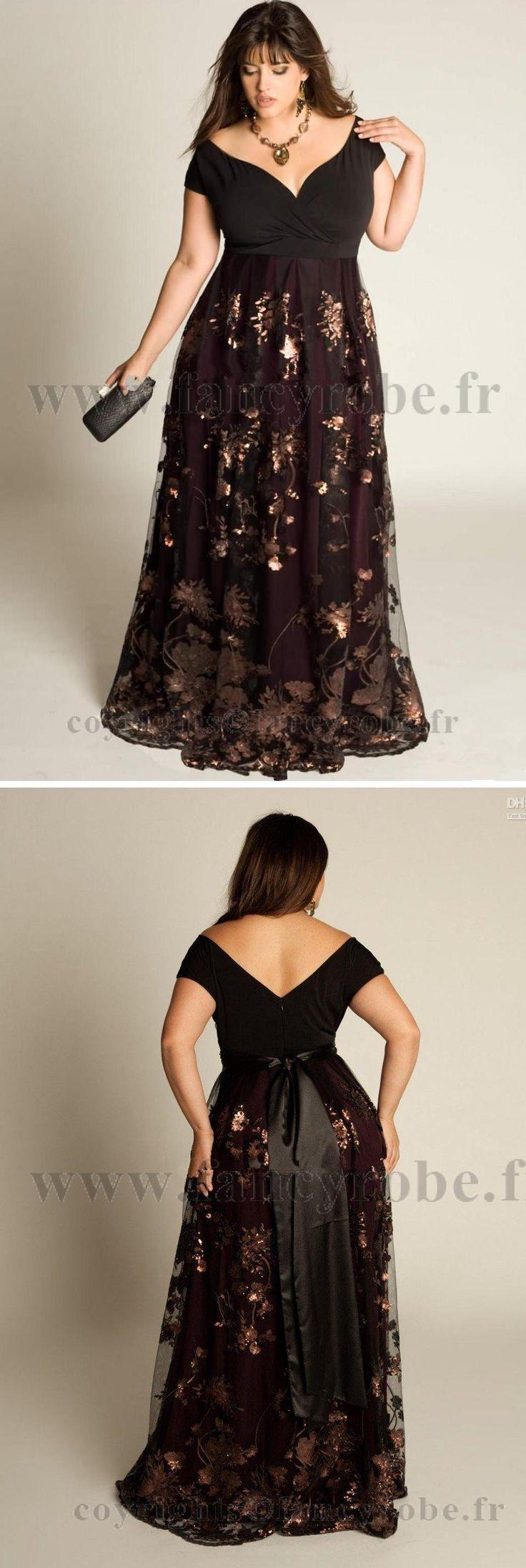 Robe de soirée grande taille pas cher satin dentelle plis