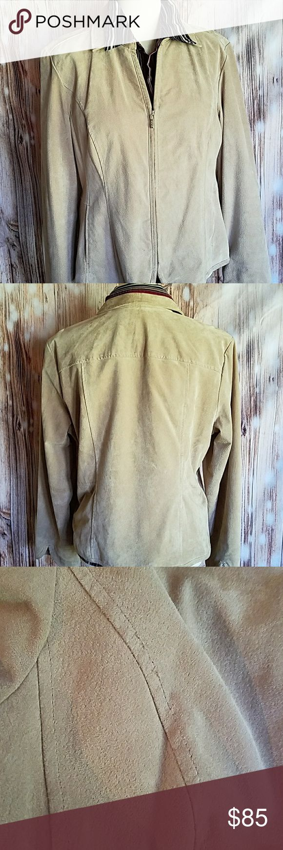 AMI  Suede Leather Jacket Fawn color leather (suede) jacket. Beautiful lines and soft leather, fully lined. Very good condition just needs to be professionally cleaned and 3 small stitches tightened down. Zipper works perfect. Definitely worth the price, I would keep it but it does not fit me anymore. AMI Jackets & Coats