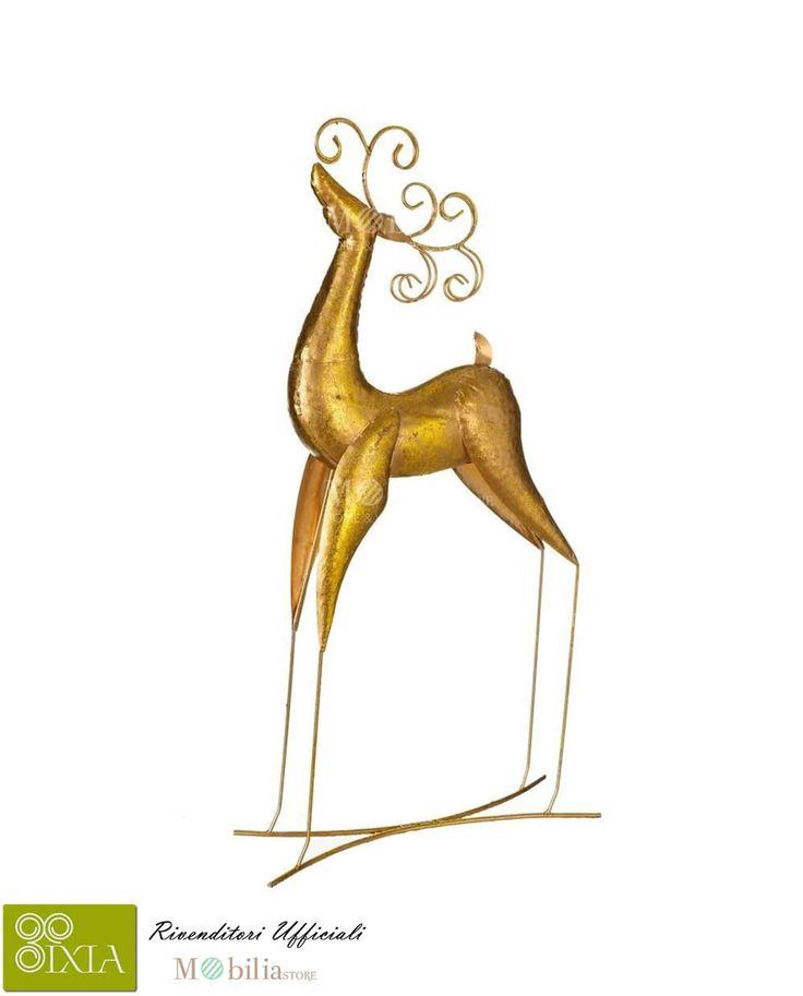 Fantastica Renna decorativa Natale Ixia, realizzata interamente in metallo dorato, con una forma molto fine e sinuosa, perfetta per addobbare qualsiasi parte della vostra casa regalando un effetto magico e fiabesco ai vostri ambienti. Scopri le meravigliose promozioni Ixia su Mobilia Store.