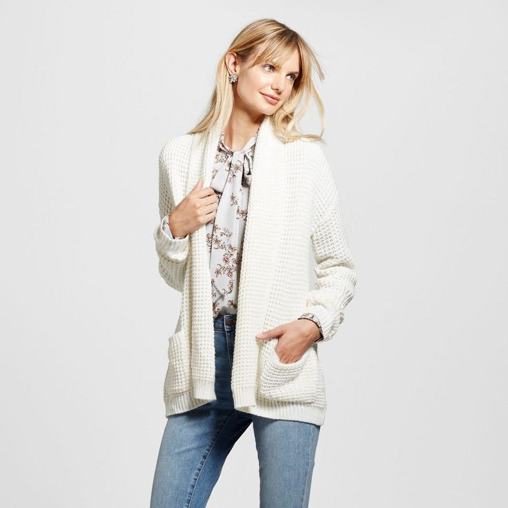 Women's Textured Open Layering Cardigan - Merona Sour Cream M