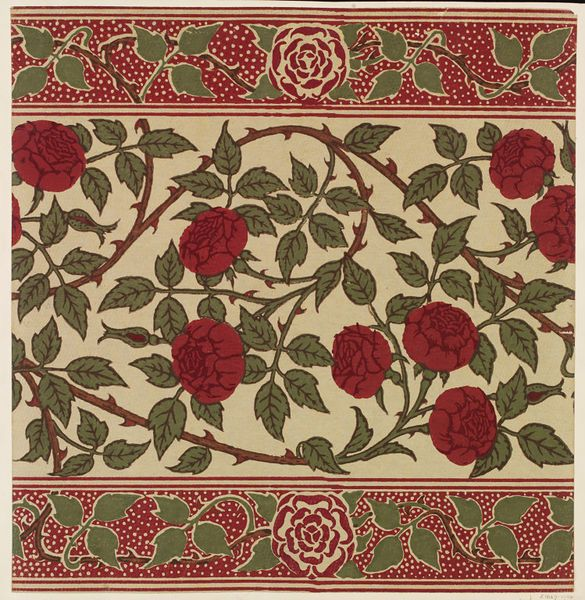 Portion of a frieze for use with the 'Rosamund' wallpaper, red roses with thorned stems on a pale ground, with border bands of stylised rose. 1908 Walter Crane