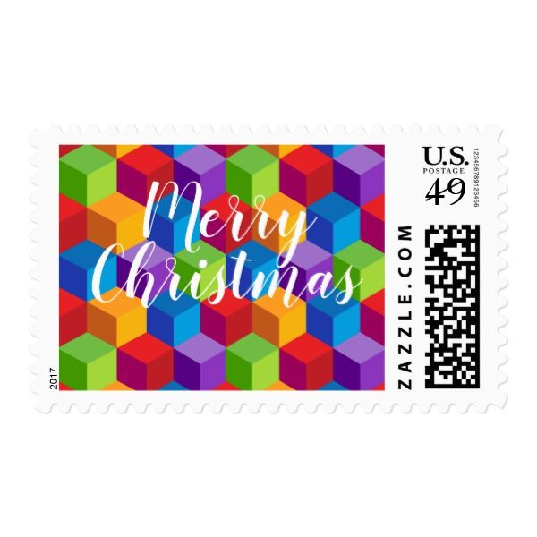Merry Christmas Rainbow Colorful Cube Pattern Postage #christmas #postage #stamps