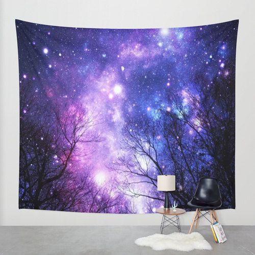 Black Trees Purple Blue Space Wall Tapestry Trees