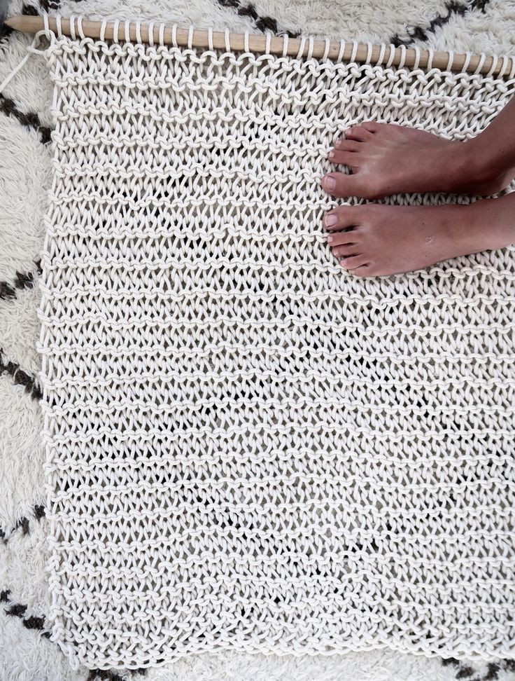 Feet and latest knitted rope rug complete, commission piece by Made by Lucy