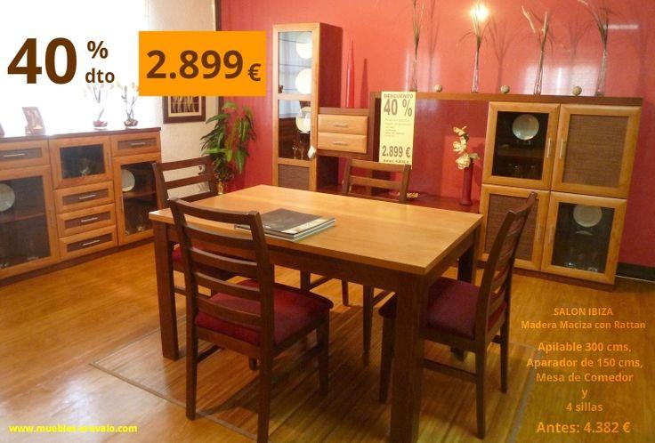 Muebles para el sal n en madera apilable de 300 cms mesa for Muebles en arevalo