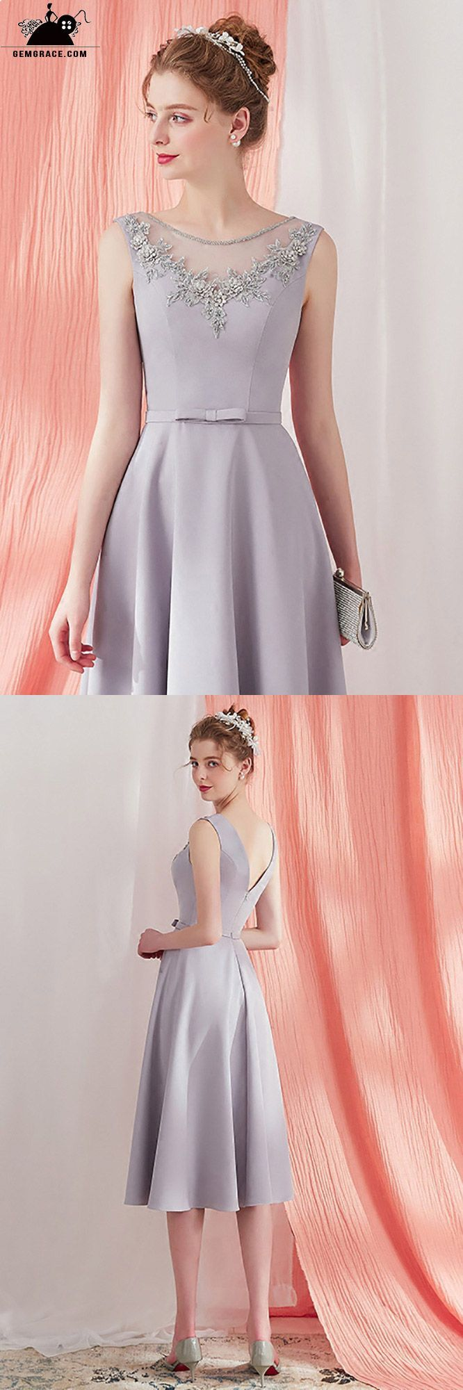 Elegant Grey Beaded Neckline Knee Length Party Dress V ...