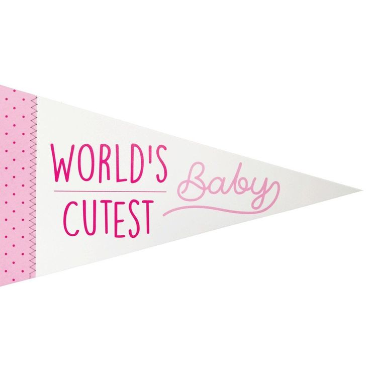 World's Cutest Baby Pennant Banner Sewn Greeting Card in Pink for Girl