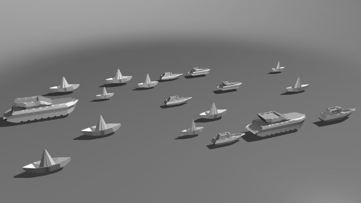 3D Paper Boats modelled in Maya, along the River Thames in London.