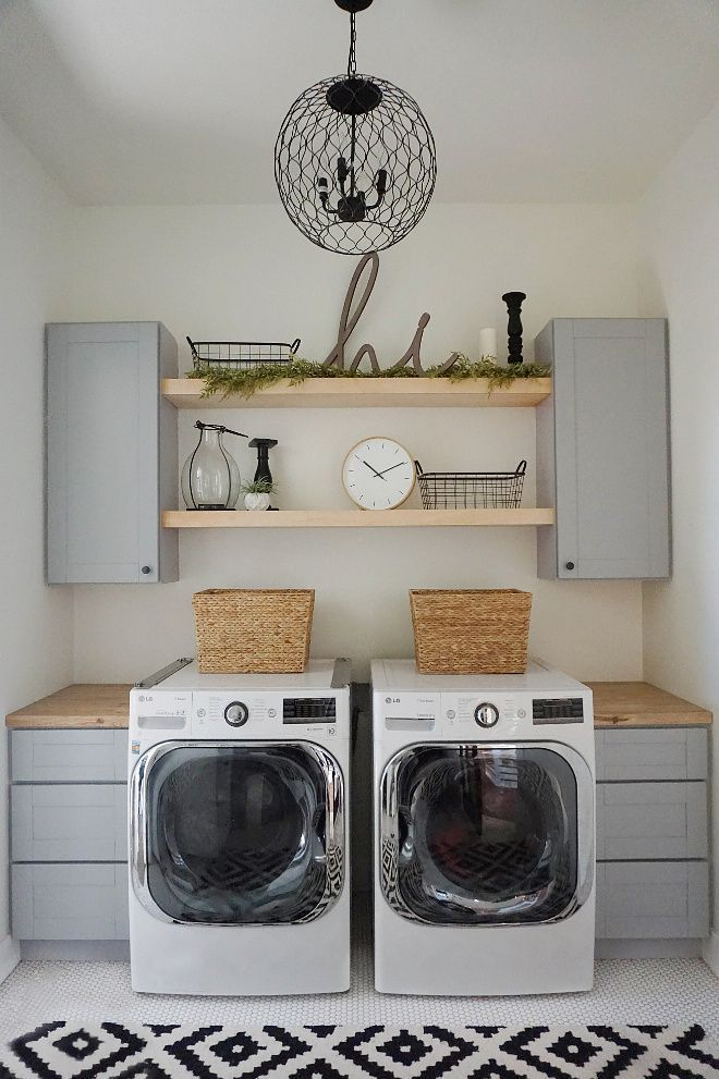 Farmhouse Laundry Room Open Shelves Since You Can See Into Our