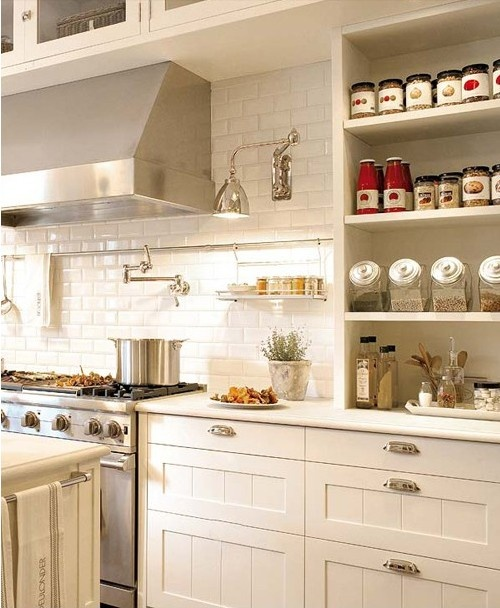 Classic white and stainless steel kitchen w/ open shelves; Simply Seleta