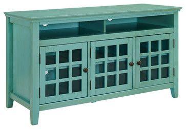 Largo Turquoise Media Cabinet, Turquoise transitional-media-cabinets
