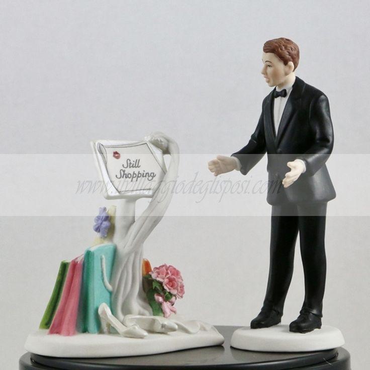 """Vendita online Cake topper porcellana """"ancora shopping""""/Cake topper Bride Fashion Victim Disponibile/Available http://www.ilvillaggiodeglisposi.com/"""