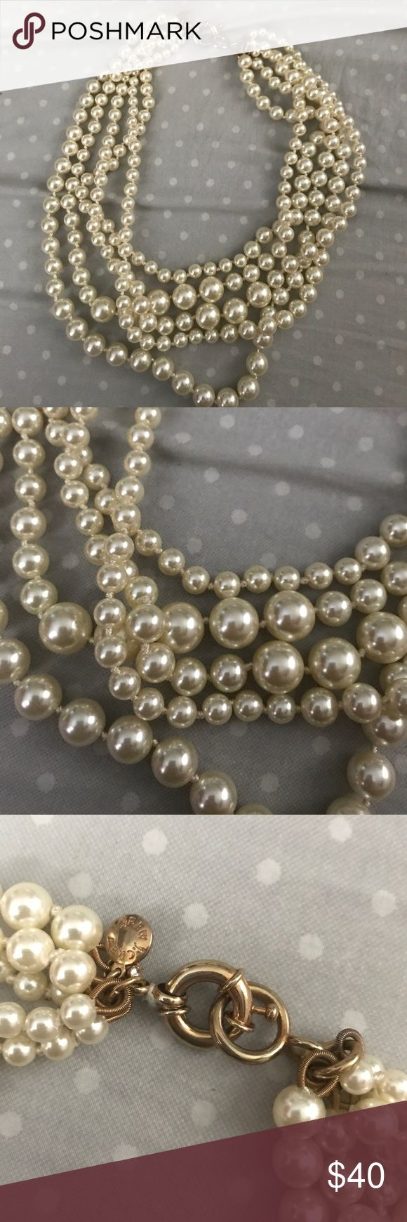 J crew multistrand pearl necklace Worn once, j crew necklace J. Crew Jewelry Necklaces