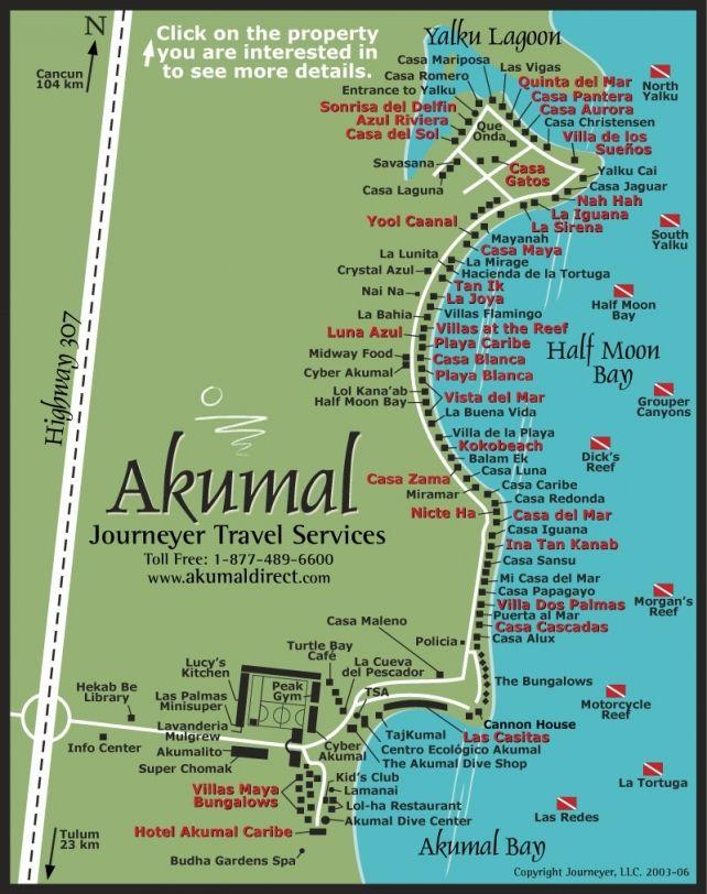 Akumal and Half Moon Bay Map | Akumal Direct Reservations | Mexico ...