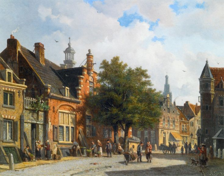 Adrianus Eversen, Figures in the Sunlit Streets of a Dutch Town