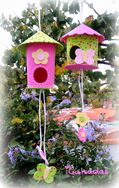Bricolage enfant nichoir oiseau en mousse avec tutorial for Oiseau decoration jardin