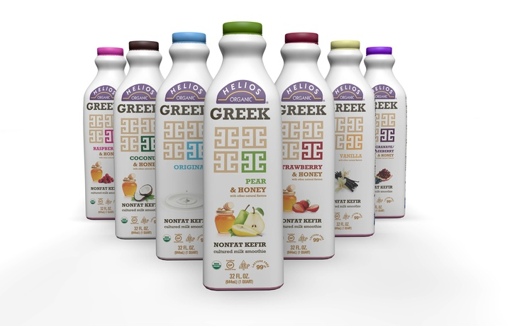 Helios Organic Kefir has gone Greek with more protein (16 g per serving) and honey-kissed flavors! Coming soon in Coconut & Honey, Raspberry & Honey, Strawberry & Honey, Pomegranate-Blueberry & Honey varieties, in addition to the new Pear & Honey plus Original and Vanilla!