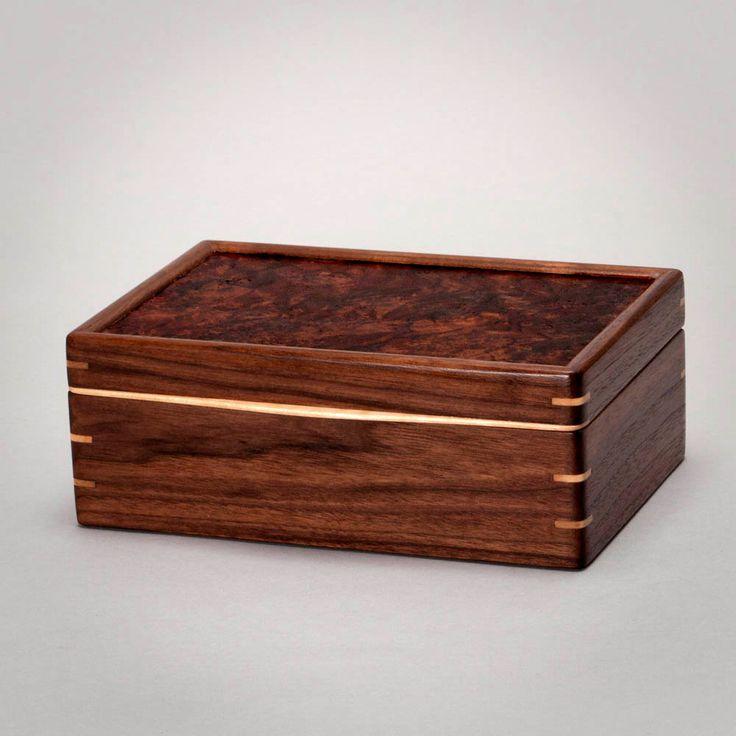 Large Keepsake Box, Wooden Mens Box, Treasure Box, Knick Knack Box, Mens Valet Box. Walnut with Walnut Burl Lid. The Keeper 0616-013-005 by MountainViewWood on Etsy