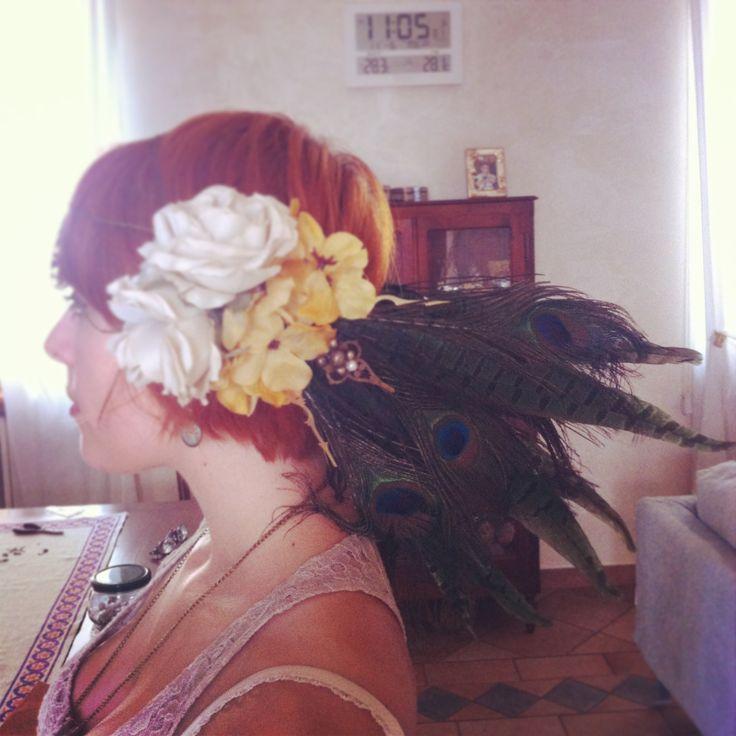 Francesca in her new steampunk/art nouveau/tribal headdress I handmade for her