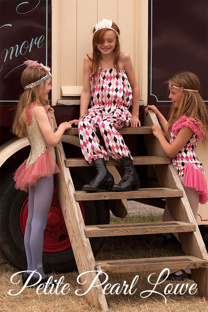 The harlequin jumpsuit is £125 from Petite Pearl Lowe  kids fashion for fall 2015