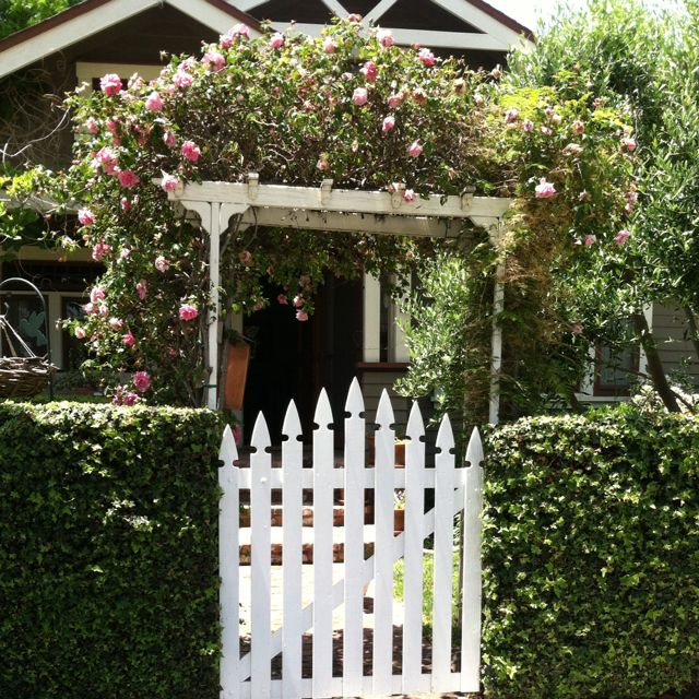 Rose arbor over front gate