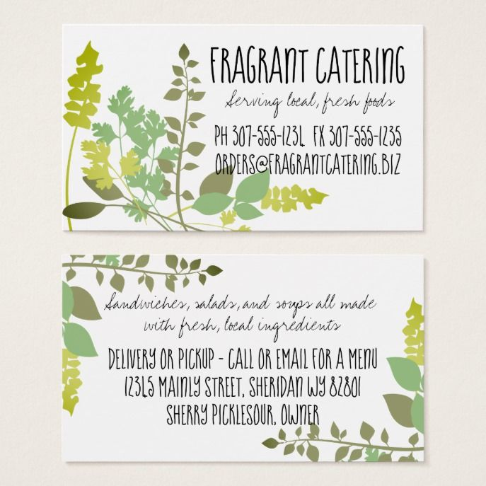 Mixed herbs culinary chef catering business card Catering business