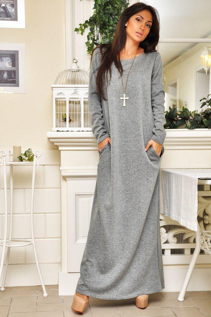 Трикотажное длинное платье своими руками