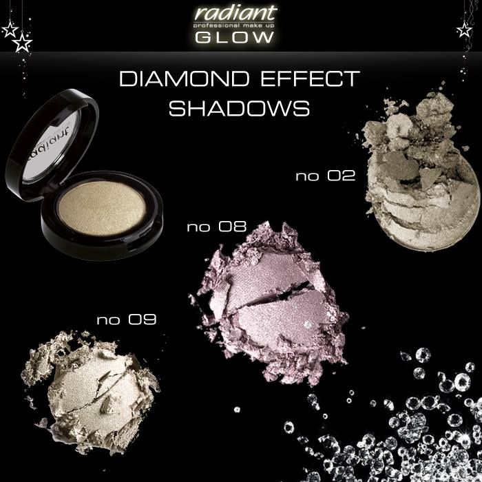 Last minute tip: Απλώσετε μικρή ποσότητα από τις Diamond Effect Shadows nο2, nο8 και nο9 για σέξι λάμψη στους κροτάφους! Last minute tip: Use a small amount of Diamond Effect Shadows nο2, nο8 and nο9, and apply them on the temples, for an irresistible glow! http://www.radiant-professional.com/eye-color/diamond-effect-shadow