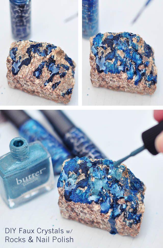 DIY Rock Crystals with Nail Polish steps