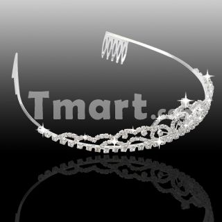 Shinning Cute Bridal Wave Style Rhinestone Crown Headband Silver,$5.55