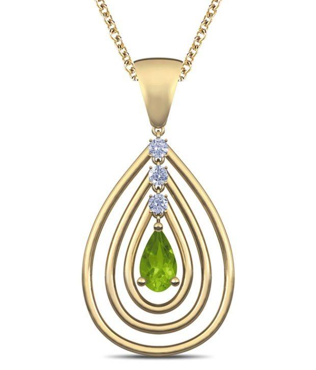 Caratlane Echo Peridot 18 Kt Certified, Real Diamond