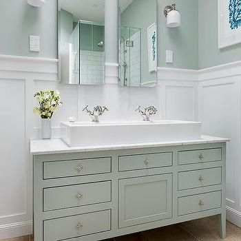 White and Green Bathroom Ideas, Transitional, Bathroom