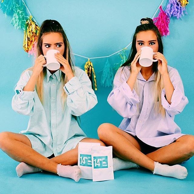 Twins Teatox Together  'Love the way #skinnymetea makes us feel first thing in the morning! It's amazing we love it ☕️' - Tess & Sarah Behannon of @ tess_and_sarah // umm you're amazing girls & we love you! #twins #teatoxtogether // www.skinnymetea.com.au